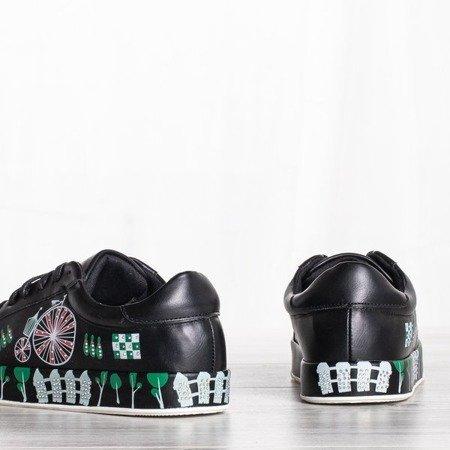 Czarne buty sportowe z kolorowym printem Judi - Obuwie