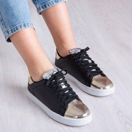Czarne buty sportowe ze złotym noskiem Alladyn - Obuwie