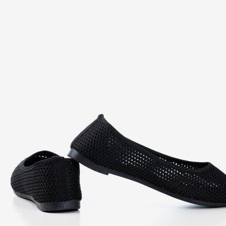 Czarne damskie baleriny ażurowe Dzein - Obuwie