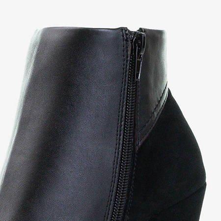 Czarne damskie botki na wyższym słupku Itruo - Obuwie