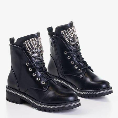 Czarne damskie botki typu workery z kamyczkami Lancerot - Obuwie