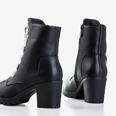 Czarne damskie botki z ozdobamy Binche - Obuwie