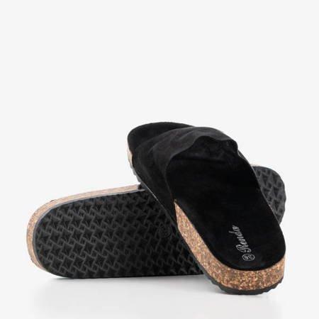 Czarne damskie klapki Ratia - Obuwie