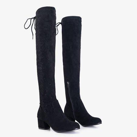 Czarne damskie kozaki za kolano z cyrkoniami Scarlett - Obuwie