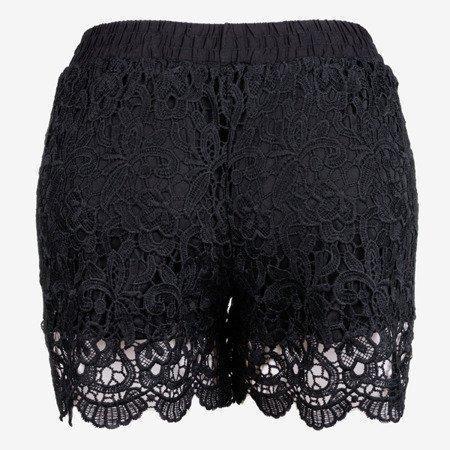 Czarne damskie krótkie spodenki zdobione koronką - Odzież