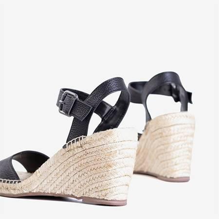 Czarne damskie sandały na koturnie Rolda - Obuwie