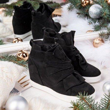 Czarne damskie sneakersy na krytym koturnie Astana - Obuwie