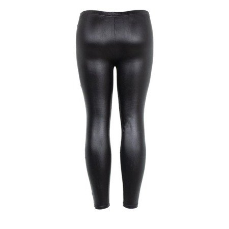 Czarne damskie tkaninowe tregginsy - Spodnie