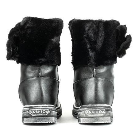 Czarne dziecięce śniegowce z futrem Bunni - Obuwie