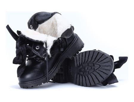 Czarne dziecięce workery Śnieszka - Obuwie