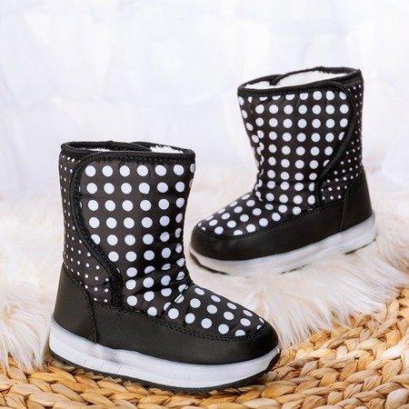 Czarne dziewczęce śniegowce Groshek - Obuwie