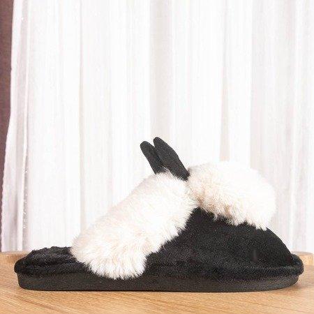 Czarne kapcie z białymi ozdobami Dixie - Obuwie