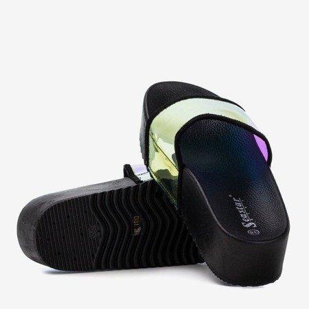 Czarne klapki na platformie z holograficznym wykończeniem Silviana - Obuwie