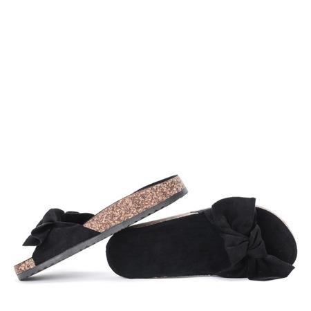 Czarne klapki z kokardką Betina - Obuwie