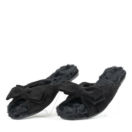 Czarne klapki z kokardką Pancina - Obuwie