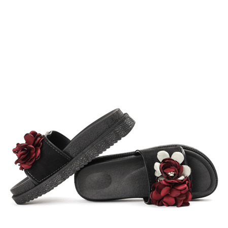 Czarne klapki z kwiatkami Flemington - Obuwie