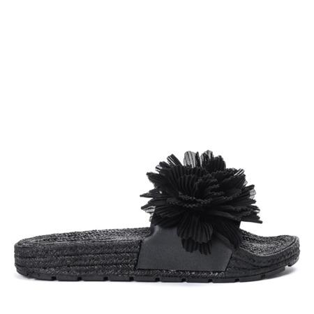 Czarne klapki z ozdobnymi kwiatuszkami Ratena - Obuwie