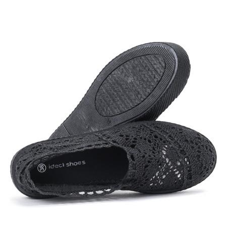 Czarne koronkowe tenisówki w stylu slip on Bari - Obuwie