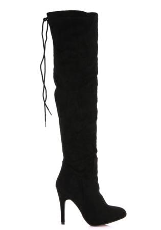 Czarne kozaki na szpilce za kolano Bealiena - Obuwie
