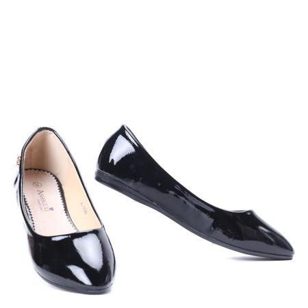 Czarne, lakierowane baleriny Meganno - Obuwie