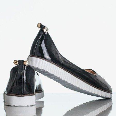 Czarne lakierowane baleriny damskie Miracle - Obuwie
