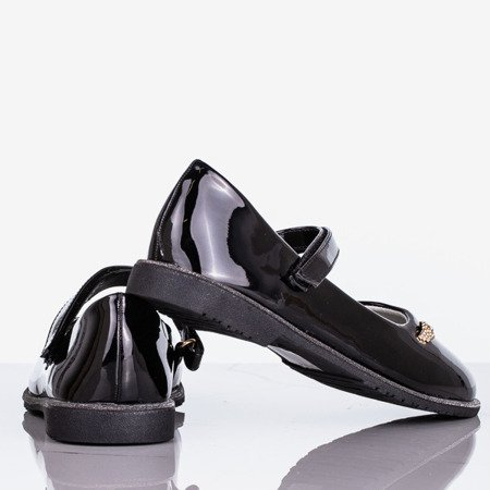 Czarne lakierowane baleriny dziecięce Kandi - Obuwie