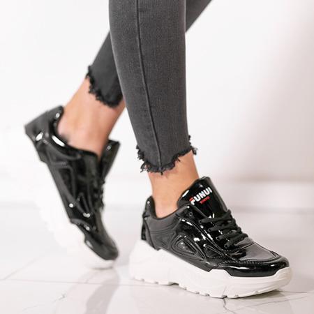 Czarne lakierowane buty sportowe Holly- Obuwie