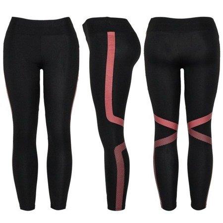 Czarne legginsy z czerwonym printem - Legginsy
