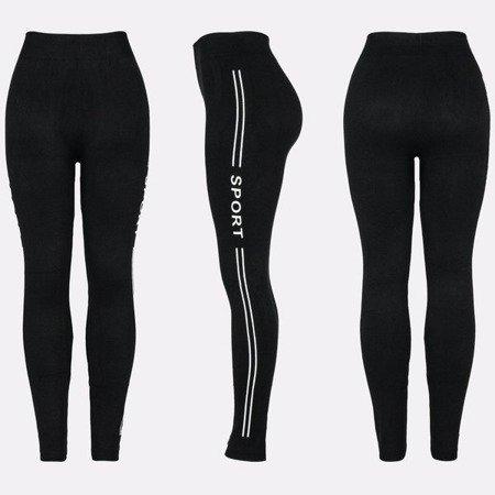 Czarne legginsy z ociepleniem - Spodnie