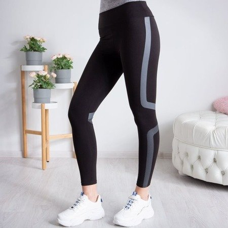 Czarne legginsy z szarym printem - Legginsy