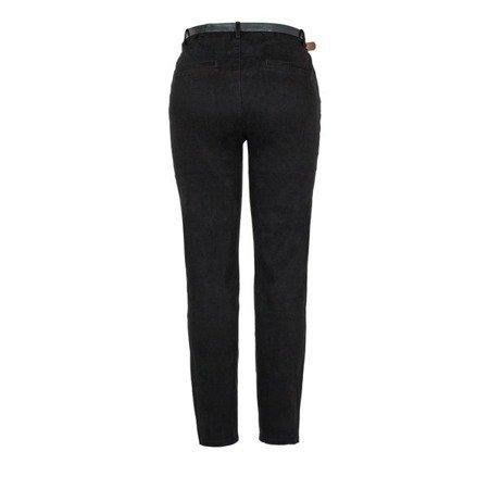 Czarne materiałowe spodnie z paskiem - Spodnie