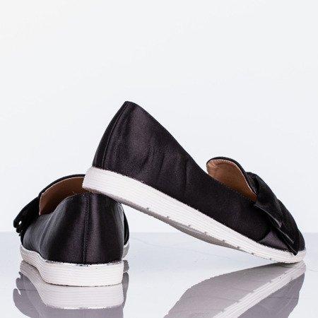 Czarne mokasyny z kokardką Tiana - Obuwie