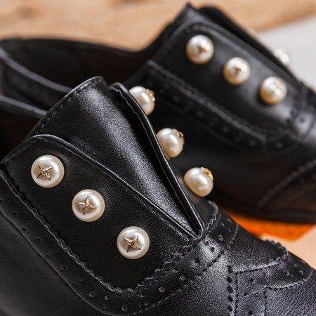 Czarne półbuty z perełkami Nurberg - Obuwie