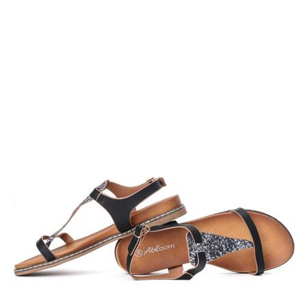 Czarne sandały a'la japonki z brokatową ozdobą Finecia - Obuwie