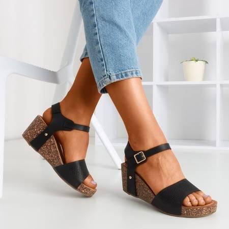 Czarne sandały damskie ażurowe Elemia - Obuwie