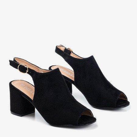 Czarne sandały damskie na wyższym słupku Vikash - Obuwie