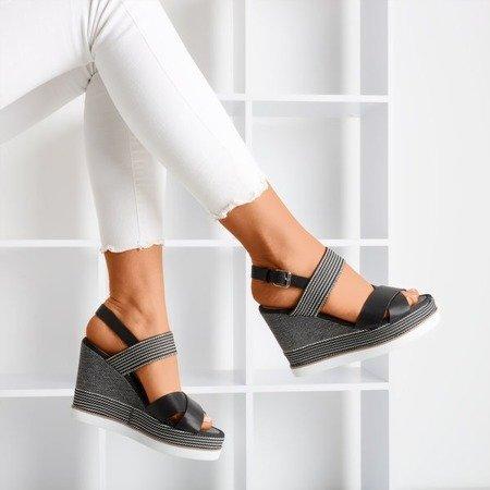 Czarne sandały damskie zdobione sznureczkami Oqasina - Obuwie