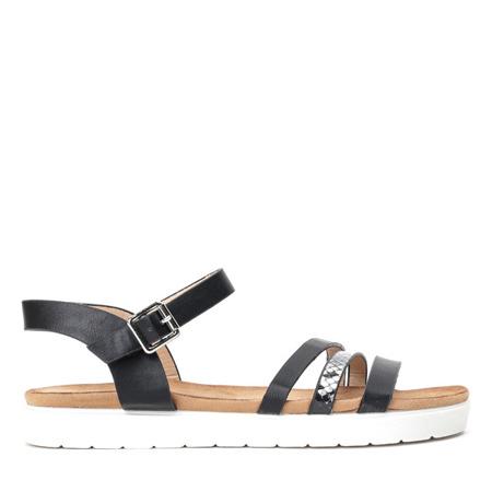 Czarne sandały na grubej podeszwie Martita - Obuwie