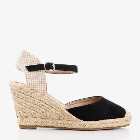 Czarne sandały na koturnie a'la espadryle Tidem - Obuwie