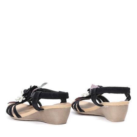 Czarne sandały na koturnie z ozdobnymi kwiatkami Dormina - Obuwie