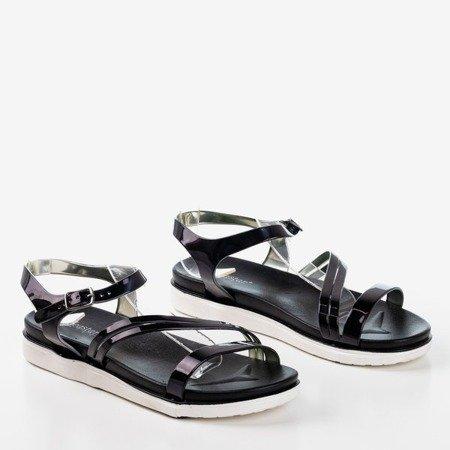 Czarne sandały na na niskiej platformie Livea- Obuwie