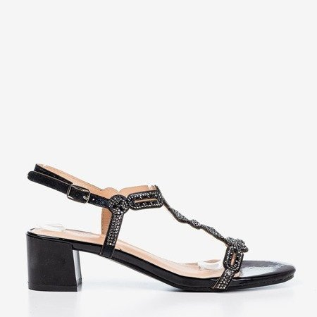 Czarne sandały na niskim słupku z cyrkoniami Doremia - Obuwie