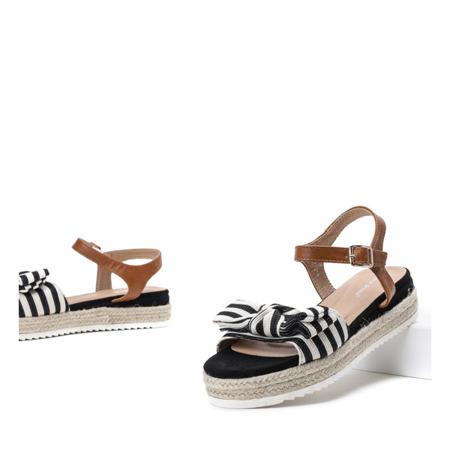 Czarne sandały na platformie z kokardą Moguerra - Obuwie
