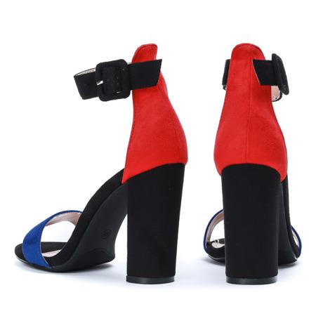Czarne sandały na słupku z granatowym paseczkiem i czerwonym zapiętkiem Denice - Obuwie