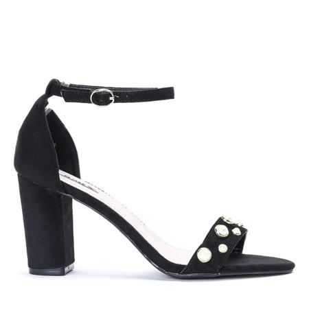 Czarne sandały na słupku z perełkami Gricelle - Obuwie