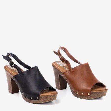 Czarne sandały na wyższym słupku Madella - Obuwie
