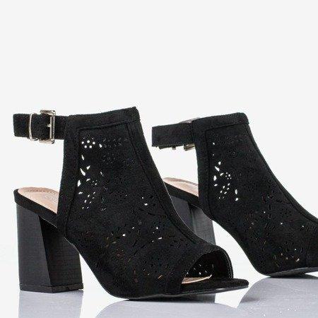 Czarne sandały na wyższym słupku Meamoss - Obuwie