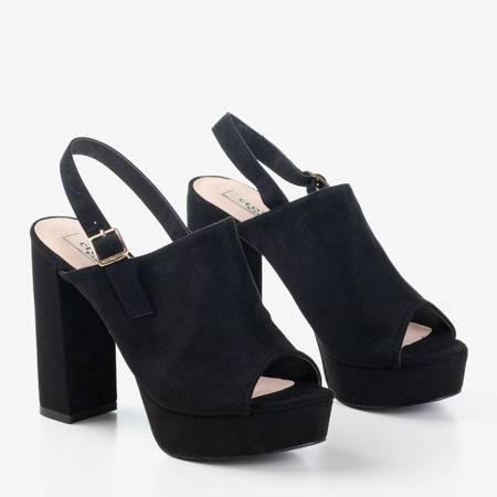 Czarne sandały na wyższym słupku Tripsi - Obuwie