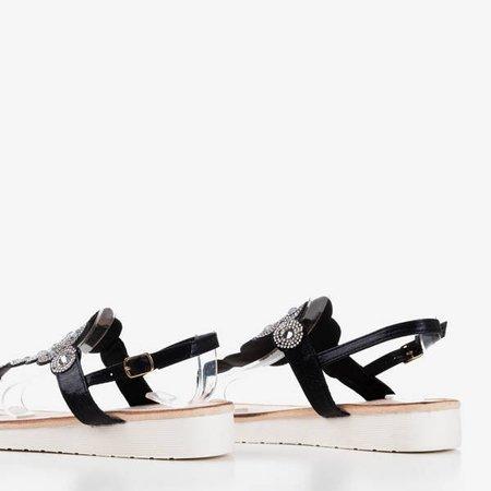 Czarne sandały typu japonki na koturnie Ariadna - Obuwie