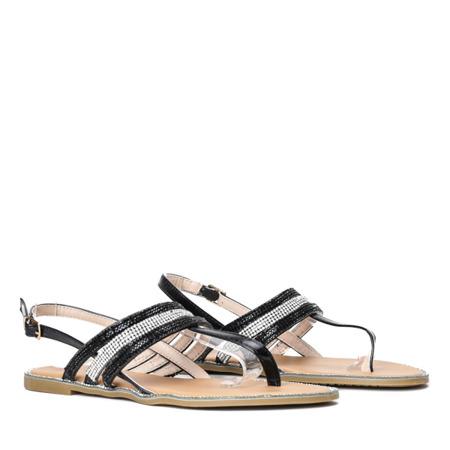 Czarne sandały z cyrkoniami Allyson- Obuwie